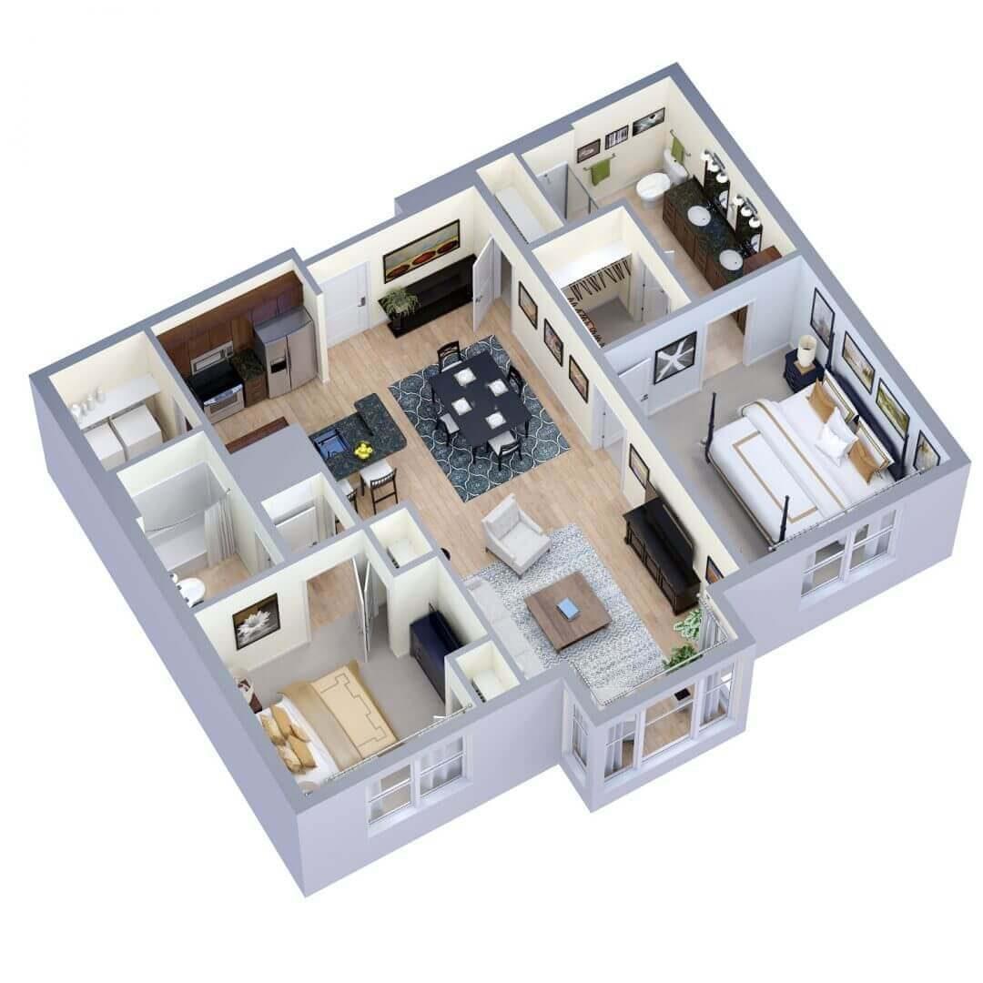 Hawthorn Floor plan 3D preview