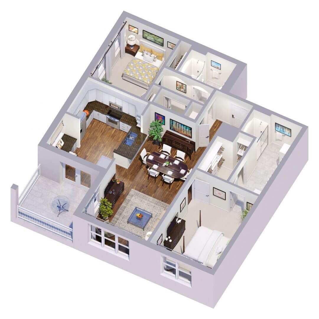 Rochester Floor plan 3D preview