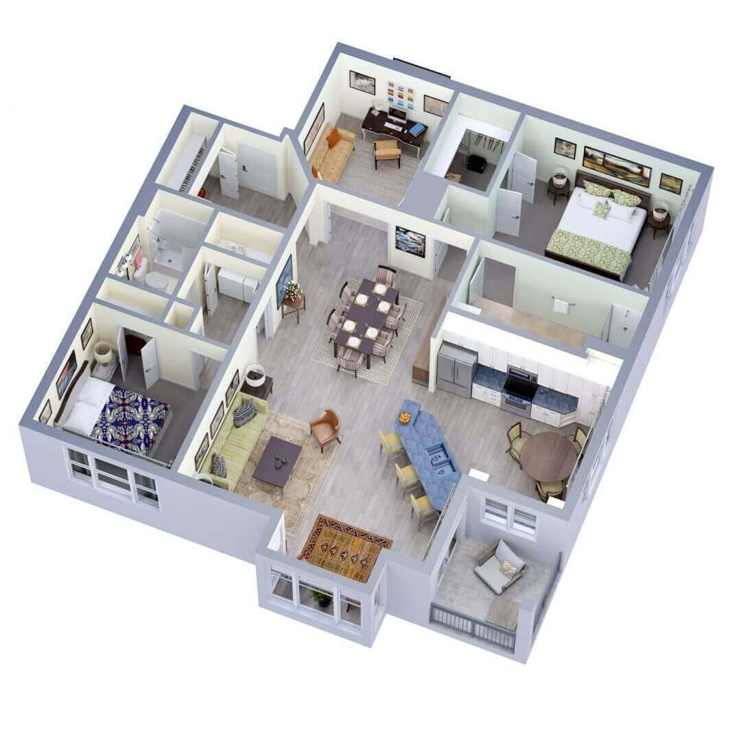 Wilmington Floor plan 3D preview